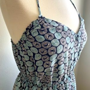 Ecote Sundress Button front Mint green Black Med
